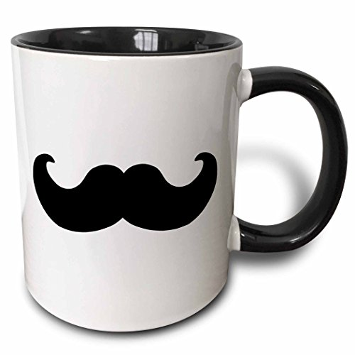 3dRose 3dRose Black mustache on white - Ironic hipster moustache - Humorous - Fun - Whimsical - Silly - Funny - Two Tone Black Mug, 11oz (mug_58329_4), , Black/White (Moustache Coffee Mug)