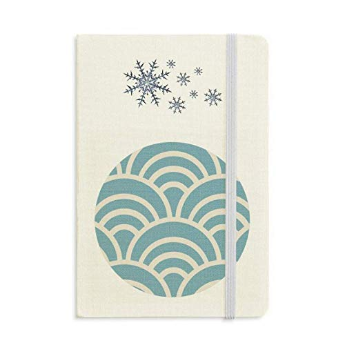 Pattern Wave Japanese Traditional Edo Notebook Thick Journal Snowflakes Winter ()