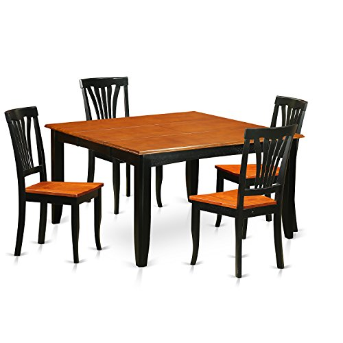 East West Furniture PFAV5-BCH-W Dining Table and 4 Wooden Chairs Set 5Piece