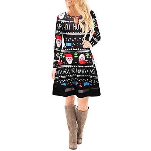 Mujer Navidad Christmas Impreso Cordón Vestir, WINWINTOM Chicas Manga Larga Mini Vestido Style5