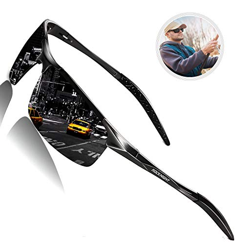 ROCKNIGHT Mens Sunglasses Polarized UV400 Sunglasses for Hiking Rimless Sunglasses for Men Sports Sunglasses Al-Mg Metal Outdoor Fishing Golf