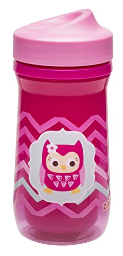 Zak! Designs Toddlerific Perfect Flo Toddler Cup with Pink Owl, Double Wall Insulated Construction and Adjustable Flow Technology, Break-resistant and BPA-free Plastic, 8.7oz. (Insulated Sippy Cup Owl compare prices)