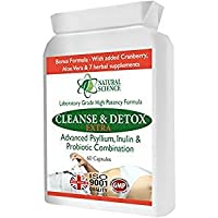 Colon Intestin CLEANSE DETOX PROBIOTIC - nettoyage fort et doux - combinaison idéale psyllium & 3 milliards de bonnes bactéries + Cranberry, Aloe Vera + 7 compléments à base de plantes - 60 capsules