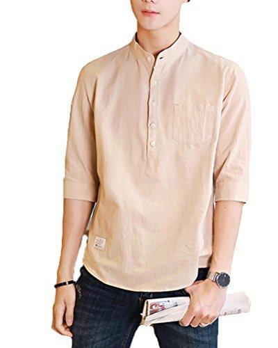 Faston 7分袖 綿麻 リネンシャツ 七分袖シャツ ボタンダウン ワイシャツ メンズ カジュアルシャツ ストレッチ メンズ FA020
