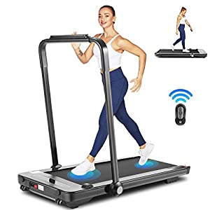 Folding Treadmill for Home Use,Portable Electric Treadmill Workout with Bluetooth Speaker, Remote Control & LED Display,2 in 1 Under Desk Treadmill Free Assemble