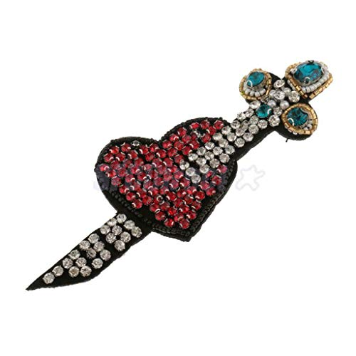 Heart Design Crystal Beaded Patch Embroidery Sew on Applique for Clothing ()