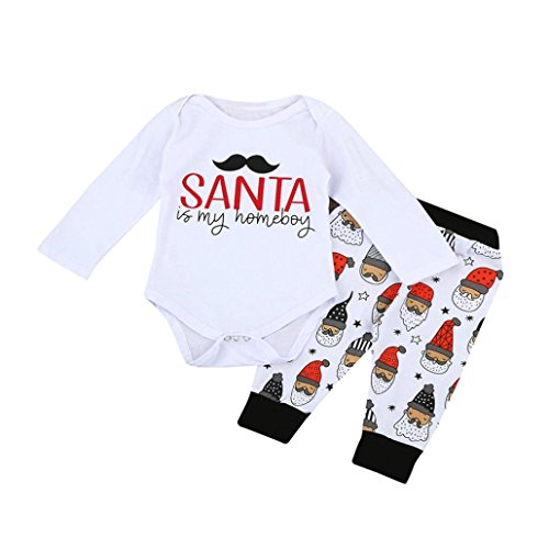 Muranba Newborn Infant Baby Girl Boy Letter Romper Tops+Pants Christmas Outfits Set (80CM, (Cocina Para Todos Halloween)