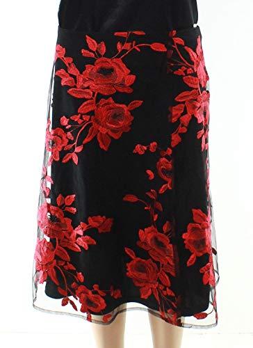 ECI New York Women's MESH Embroidered Circle Skirt, red/Black 8