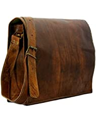 HANDMADECRAFT 11-Inch Genuine Leather messenger Bag-Brown