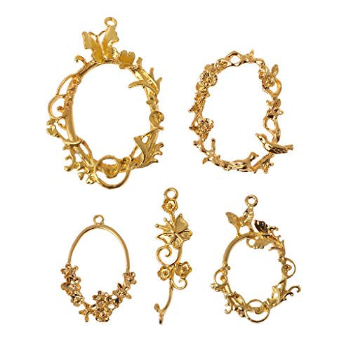 Bezel Filler - EHOO Blank Frame Pendants Bezel Setting,5Pcs Retro Flower Vine Photo UV Resin Accessories Jewelry Necklace Pendant Supplies Gifts Crafts