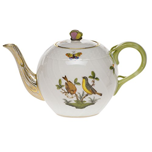 Herend Rothschild Bird Tea Pot With Butterfly