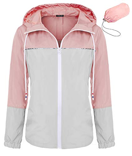 4206b86cca68f Bosbary Women's Raincoats Waterproof Packable Windbreaker Active Outdoor  Hooded Lightweight Rain Jacket(Gray/Pink,Small)