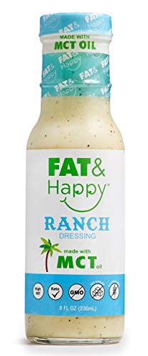 FAT & Happy Ranch Dressing 8oz, KETO, MCT Oil, No Sugar, Gluten Free, Non-GMO