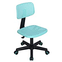 Office Chair FurnitureR Low-Back Adjustable Kids Computer Seat Office Desk Design Task Chair Swivel Armless Children Study Chair TURQUOISE