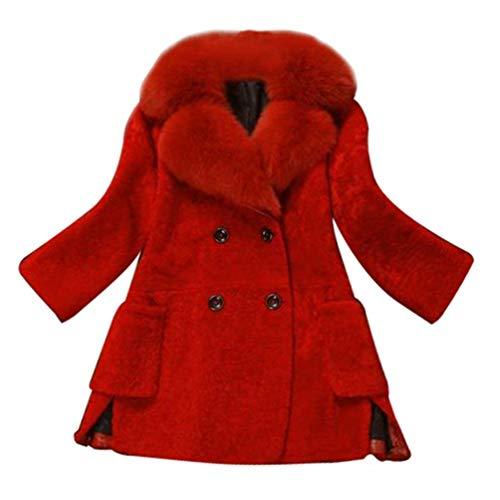 Double Rouge Avec Manteau Longues Outdoor En Elégante Boutonnage Épaisseur Manches Couleur Battercake Femme Vêtements Chic D'extérieur Fourrure Unie Mode Hiver Outerwear Warm Col Casual Coat nXq1zpxSp