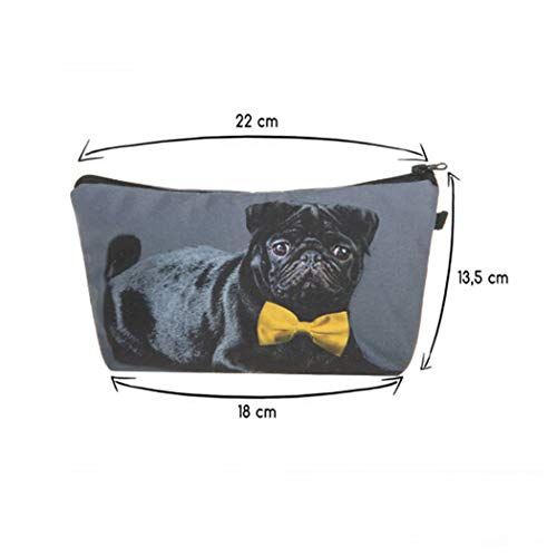 Eleusine Women 3D Bag Organizer Tie Printing Pug Bow Cosmetic Makeup Cosmetic Bag Bag Black With qqdBw7rx