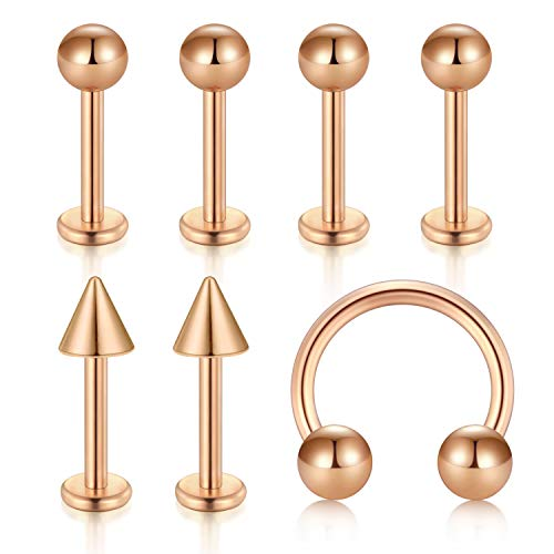 JFORYOU Cartilage Tragus Earrings-20G-0.8mm Stainless Steel Externally Threaded Labret Monroe Medusa Lip Ring Rook Helix Earring Stud Barbell Piercing Jewelry 8mm