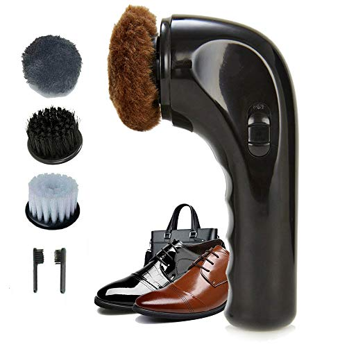 Shoe Buffer Kit Electric Shoe Polisher Brush Shoe Shiner Dust Cleaner Portable Wireless Leather Care Kit for Shoes, Bags, Sofa (Black) (Care Kit Dust)