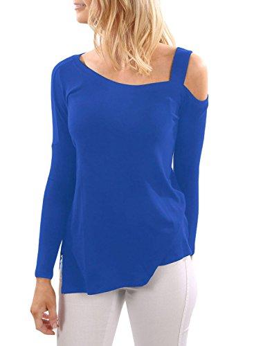 Neuf Bleu une épaule à manches longues Pull Chemisier de soirée pour femme Tenue décontractée d'été Taille UK 8EU 36
