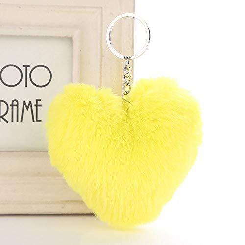 Soleebee Suave Llavero de Piel de Conejo Artificial Amor Corazón Felpa Llavero Lindo Bolso Encanto para Mujeres Niñas