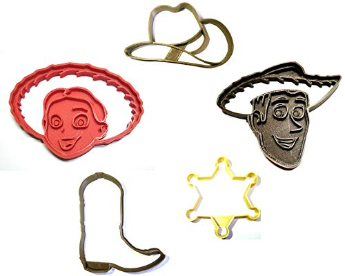 WOODY AND JESSIE COWBOY COWGIRL TOY STORY DISNEY PIXAR SET OF 5 SPECIAL OCCASION COOKIE CUTTERS BAKING TOOL 3D PRINTED MADE IN USA PR1106]()