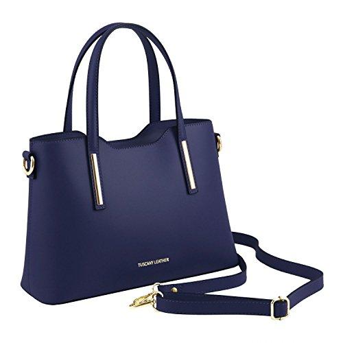 Leather modèle en Foncé Petit Cabas Tuscany Sac Bleu Rouge Olimpia Cuir 0wxTI1dq