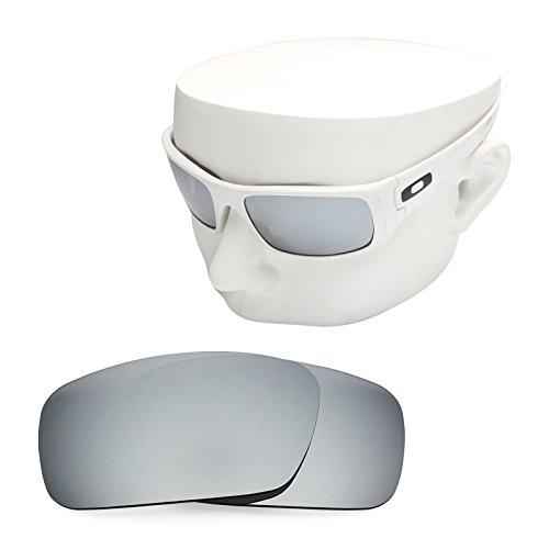 OOWLIT Replacement Sunglass Lenses for Oakley Crankshaft Silver Mirror - Polarized Crankshaft