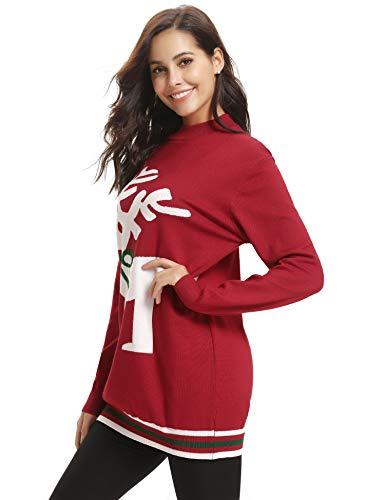 Aibrou Tops Tricot Hiver Rouge Sweat Pull Chauds Blouse Mode Noel Sweatshirt Femme Basic Chaud r4RrTfqn