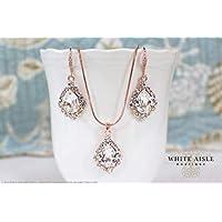 Vintage Style Rose Gold Wedding Jewelry Set Swarovski Crystal Custom Pendant Earrings Bracelet Hair Comb Hair Pins Set