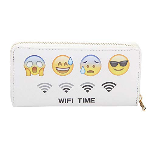 TJEtrade Wallet for Women Leather Zipper Print Long Card Holder Purses PU Phone Clutch (Smiley Face-White)