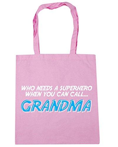 HippoWarehouse Who Needs a Superheld Wenn Sie Can Anruf Oma Einkaufstasche Fitnessstudio Strandtasche 42cm x38cm, 10 liter - Klassisch Rosa, One size