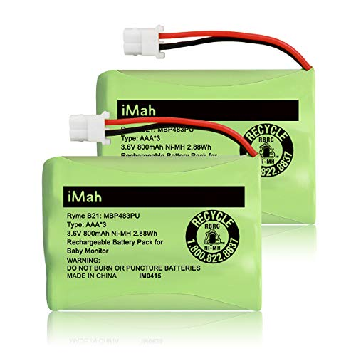 iMah Ryme B21 Rechargeable 3.6V 800mAh Ni-MH Battery Pack Compatible with Motorola MBP481PU MBP482PU MBP483PU Parent Unit and VTech BT207695 VM312 VM3251 VM3252 VM3261 Video Baby Monitor, 2-Pack