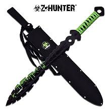 Zombie Apocalypse Hunter Machete , Zombie Triple Throwing Knife Set , & AO Zombie Bio Hazard Folding Knife Killer Bug Out Pack COMBO (Limited Edition 5 Piece Set)