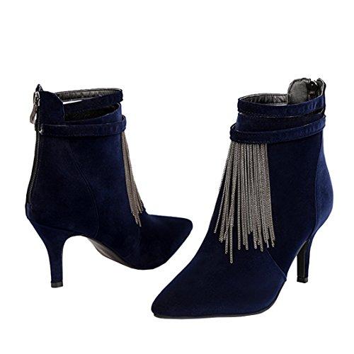 AIYOUMEI Damen Spitz Stiletto Stiefeletten mit Fransen Elegant Ankle Boots Schuhe Blau