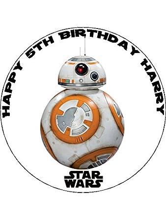 7,5 BB8 Star Wars personalisierbar Essbarer Zuckerguss Kuchen Topper ...