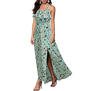 REPHYLLIS Women Sexy Split Halter Sundresses Chiffon Wedding Party Maxi Dress