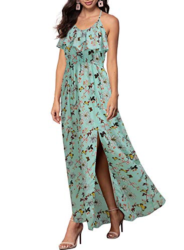 (REPHYLLIS Women Sexy Split Halter Backless Print Chiffon Maxi Summer Long Dress Green Black S)