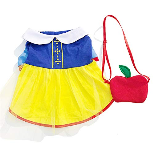 CT COUTUDI Pet Costume Snow White Dress Princess Puppy Dress with Red Apple Cross Bag