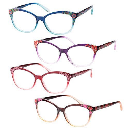 SOOLALA Designer Three-dimensional Floral Framed Spring Hinged Quality Reading Glass, 4pcs, - Glasses Uk Buy Reading