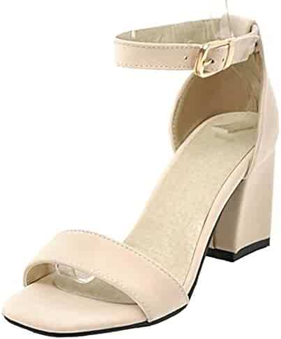 4c9bc3a2e44 Easemax Women s Dressy Open Toe Mid Chunky Heels Faux Suede Sandals Shoes