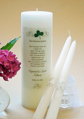 (Gold Elegance Wedding Unity Candles - Irish)