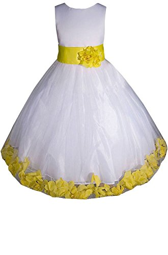 [Sicong2 Natural and Graceful Big Girls' Flower Girl Pageant Dress White/Yellow8 Attractive] (All White Party Outfit Ideas)