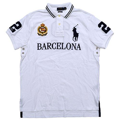 (Polo Ralph Lauren Mens Big Pony City Custom Fit Mesh Polo Shirt (XX-Large, White Barcelona))