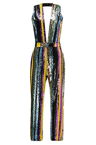 (Ussuperstar Women's Rainbow Sequin V-Neck Jumpsuit Sleeveless Striped Rompers Clubwear (S-1, M))