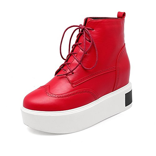 AllhqFashion Women's Pu Low Top Solid Lace Up High Heels Boots, Red, 38 (Wonder Woman Boots Cheap)