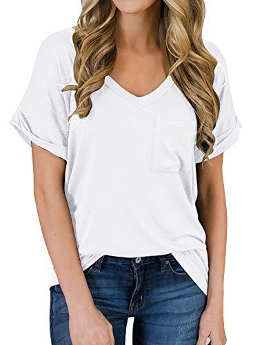 Yidarton Women's Short Sleeve T Shirts V Neck Top Blouses Loose Tees Front Pockets(White,S)