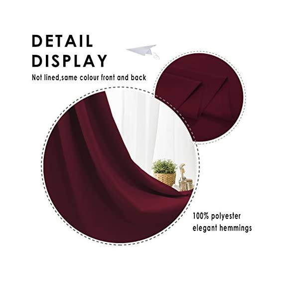 """FLOWEROOM Blackout Curtains Thermal Insulated Draperies with Grommet for Bedroom, Burgundy Red, 52 by 84 inch, 2 Panels - PACKAGE INCLUDED: Set includes 2 panels per package, each panel measuring 52 inch wide by 84 inch long. 8 sliver opening grommet with 1.6"""" diameter, fit standard-sized curtain rods PERFORMANCE: Blocks 95% of Sunlight and UV rays to any room anytime of the day, lowers outside noise up to 40% thanks to the innovative triple weave technology. ENERGY SAVING: Creates energy-saving insulating barrier against heat and cold, keeping room cooler in the summer and warmer in the winter. - living-room-soft-furnishings, living-room, draperies-curtains-shades - 417qgX80iqL. SS570  -"""