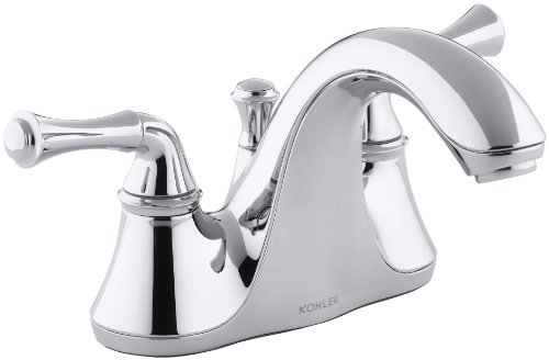 KOHLER K-10270-4A-CP Forte Centerset Lavatory Faucet with Traditional Lever Handles, Polished Chrome - Lever Handle Centerset Faucet