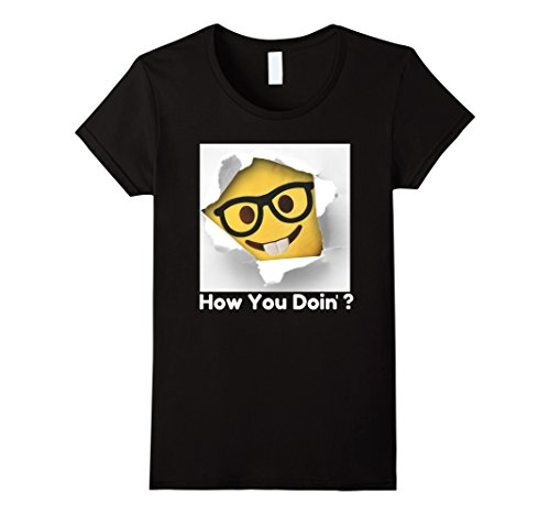 Womens How You Doin Emoji TShirt, Ironic & Funny Men, Women, Youth Large Black