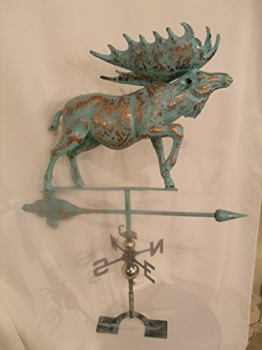 FurnitureBarnUSA Large Handcrafted 3D 3- Dimensional Moose Weathervane Copper Patina Finish